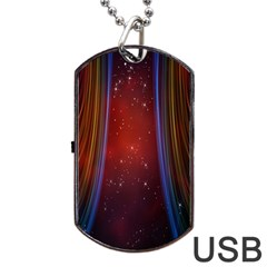 Bright Background With Stars And Air Curtains Dog Tag USB Flash (Two Sides)