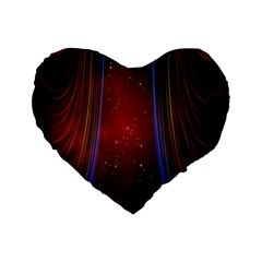 Bright Background With Stars And Air Curtains Standard 16  Premium Heart Shape Cushions