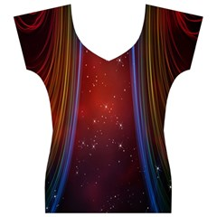 Bright Background With Stars And Air Curtains Women s V-Neck Cap Sleeve Top