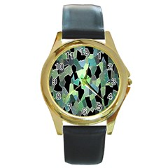 Wallpaper Background With Lighted Pattern Round Gold Metal Watch