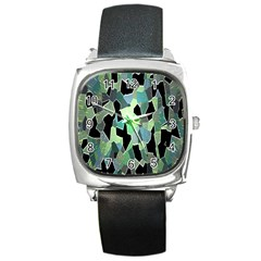 Wallpaper Background With Lighted Pattern Square Metal Watch