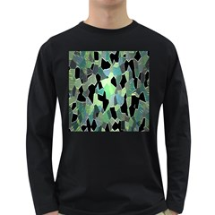 Wallpaper Background With Lighted Pattern Long Sleeve Dark T Shirts