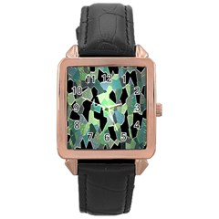 Wallpaper Background With Lighted Pattern Rose Gold Leather Watch