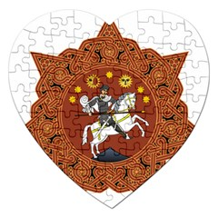 Coat of Arms of Republic of Georgia (1918-1921, 1990-2004) Jigsaw Puzzle (Heart)
