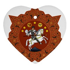 Coat of Arms of Republic of Georgia (1918-1921, 1990-2004) Heart Ornament (Two Sides)