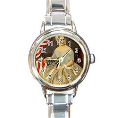 Betsy Ross Author of The First American Flag and Seal Patriotic USA Vintage Portrait Round Italian Charm Watch