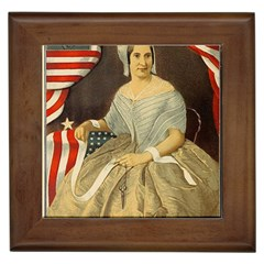 Betsy Ross Author of The First American Flag and Seal Patriotic USA Vintage Portrait Framed Tiles