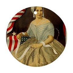 Betsy Ross Author of The First American Flag and Seal Patriotic USA Vintage Portrait Ornament (Round)