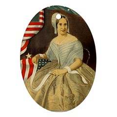 Betsy Ross Author of The First American Flag and Seal Patriotic USA Vintage Portrait Ornament (Oval)