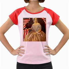 Betsy Ross Author of The First American Flag and Seal Patriotic USA Vintage Portrait Women s Cap Sleeve T-Shirt