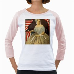 Betsy Ross Author of The First American Flag and Seal Patriotic USA Vintage Portrait Girly Raglans