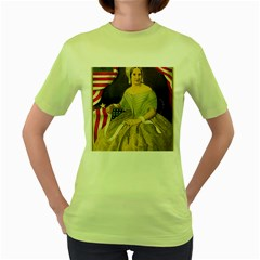 Betsy Ross Author of The First American Flag and Seal Patriotic USA Vintage Portrait Women s Green T-Shirt