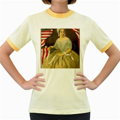 Betsy Ross Author of The First American Flag and Seal Patriotic USA Vintage Portrait Women s Fitted Ringer T-Shirts