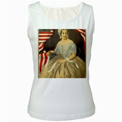 Betsy Ross Author of The First American Flag and Seal Patriotic USA Vintage Portrait Women s White Tank Top