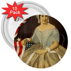 Betsy Ross Author of The First American Flag and Seal Patriotic USA Vintage Portrait 3  Buttons (10 pack)