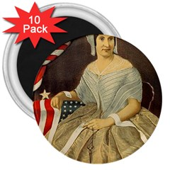 Betsy Ross Author of The First American Flag and Seal Patriotic USA Vintage Portrait 3  Magnets (10 pack)
