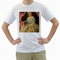 Betsy Ross Author of The First American Flag and Seal Patriotic USA Vintage Portrait Men s T-Shirt (White) (Two Sided)