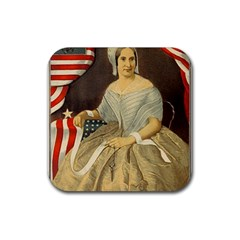 Betsy Ross Author of The First American Flag and Seal Patriotic USA Vintage Portrait Rubber Coaster (Square)