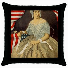 Betsy Ross Author of The First American Flag and Seal Patriotic USA Vintage Portrait Throw Pillow Case (Black)