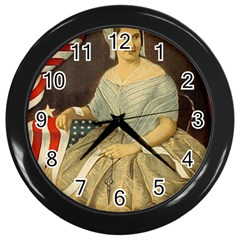 Betsy Ross Author of The First American Flag and Seal Patriotic USA Vintage Portrait Wall Clocks (Black)