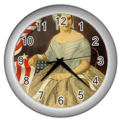 Betsy Ross Author of The First American Flag and Seal Patriotic USA Vintage Portrait Wall Clocks (Silver)