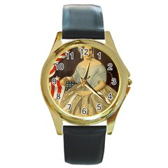 Betsy Ross Author of The First American Flag and Seal Patriotic USA Vintage Portrait Round Gold Metal Watch