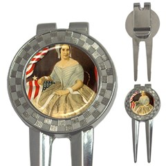 Betsy Ross Author of The First American Flag and Seal Patriotic USA Vintage Portrait 3-in-1 Golf Divots