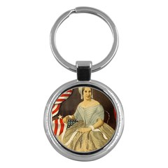 Betsy Ross Author of The First American Flag and Seal Patriotic USA Vintage Portrait Key Chains (Round)