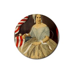 Betsy Ross Author of The First American Flag and Seal Patriotic USA Vintage Portrait Rubber Round Coaster (4 pack)