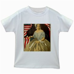 Betsy Ross Author of The First American Flag and Seal Patriotic USA Vintage Portrait Kids White T-Shirts