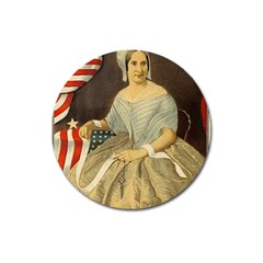 Betsy Ross Author of The First American Flag and Seal Patriotic USA Vintage Portrait Magnet 3  (Round)