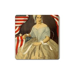 Betsy Ross Author of The First American Flag and Seal Patriotic USA Vintage Portrait Square Magnet
