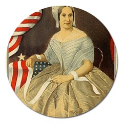 Betsy Ross Author of The First American Flag and Seal Patriotic USA Vintage Portrait Magnet 5  (Round)