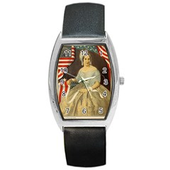 Betsy Ross Author of The First American Flag and Seal Patriotic USA Vintage Portrait Barrel Style Metal Watch