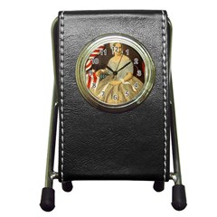 Betsy Ross Author of The First American Flag and Seal Patriotic USA Vintage Portrait Pen Holder Desk Clocks