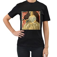 Betsy Ross Author of The First American Flag and Seal Patriotic USA Vintage Portrait Women s T-Shirt (Black) (Two Sided)