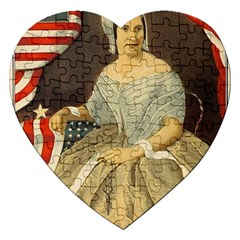 Betsy Ross Author of The First American Flag and Seal Patriotic USA Vintage Portrait Jigsaw Puzzle (Heart)