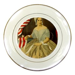 Betsy Ross Author of The First American Flag and Seal Patriotic USA Vintage Portrait Porcelain Plates