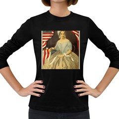 Betsy Ross Author of The First American Flag and Seal Patriotic USA Vintage Portrait Women s Long Sleeve Dark T-Shirts