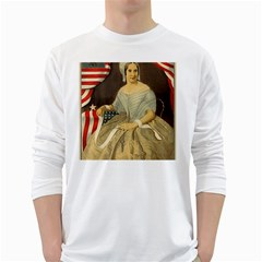Betsy Ross Author of The First American Flag and Seal Patriotic USA Vintage Portrait White Long Sleeve T-Shirts