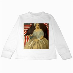 Betsy Ross Author of The First American Flag and Seal Patriotic USA Vintage Portrait Kids Long Sleeve T-Shirts