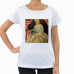 Betsy Ross Author of The First American Flag and Seal Patriotic USA Vintage Portrait Women s Loose-Fit T-Shirt (White)