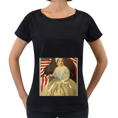 Betsy Ross Author of The First American Flag and Seal Patriotic USA Vintage Portrait Women s Loose-Fit T-Shirt (Black)