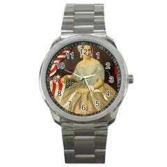 Betsy Ross Author of The First American Flag and Seal Patriotic USA Vintage Portrait Sport Metal Watch