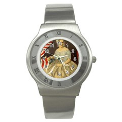 Betsy Ross Author of The First American Flag and Seal Patriotic USA Vintage Portrait Stainless Steel Watch