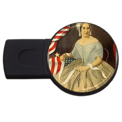 Betsy Ross Author of The First American Flag and Seal Patriotic USA Vintage Portrait USB Flash Drive Round (4 GB)