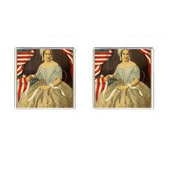 Betsy Ross Author of The First American Flag and Seal Patriotic USA Vintage Portrait Cufflinks (Square)