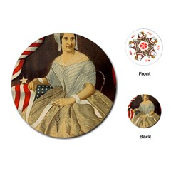 Betsy Ross Author of The First American Flag and Seal Patriotic USA Vintage Portrait Playing Cards (Round)