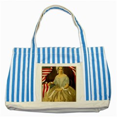 Betsy Ross Author of The First American Flag and Seal Patriotic USA Vintage Portrait Striped Blue Tote Bag