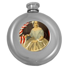 Betsy Ross Author of The First American Flag and Seal Patriotic USA Vintage Portrait Round Hip Flask (5 oz)